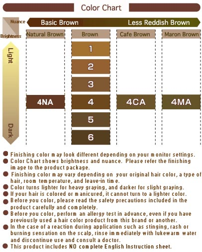 Bigen Fragrance Hair Color Chart Cautions: This product includes NO ENGLISH